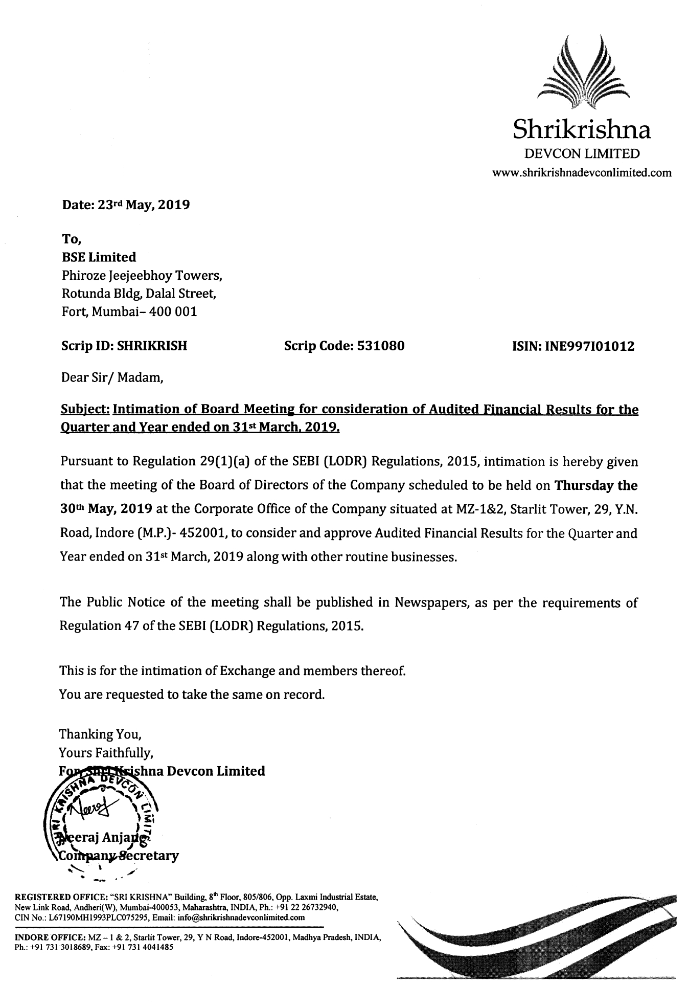 Notice of Board Meeting 30th May, 2019 - Shri Krishna Devcon